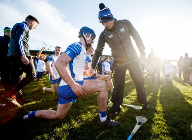 Liam Cahill with Waterford's Patrick Curran after January's game against Cork.