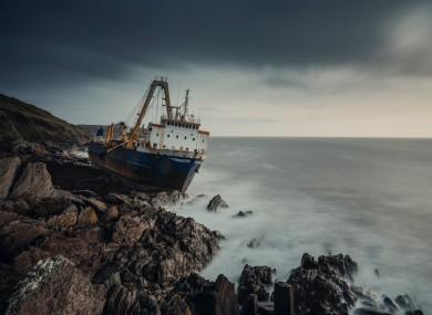 The MV Alta aground in Ballycotton.