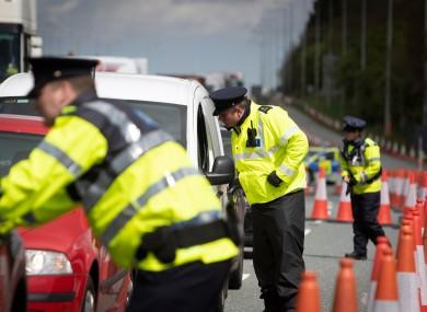 File photo. Garda checkpoint in Dublin last April.