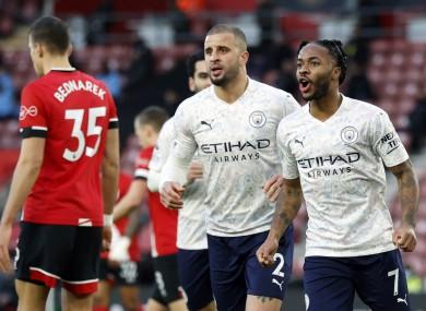 Raheem Sterling celebrates his goal.