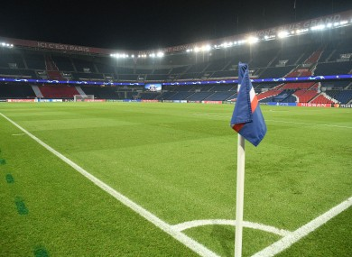 View of the empty pitch during the Uefa Champions League group H football match.