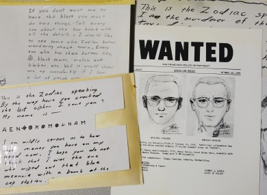 2018 file image of a San Francisco Police Department wanted bulletin and copies of letters sent to the San Francisco Chronicle by a man who called himself Zodiac.