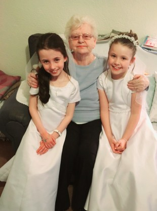 Nancy Vereker with her great grandchildren on their Communion Day, Molly (left) and Ella Noelle.