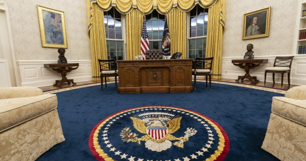 Biden redecorates the Oval Office with a return of the blue rug and no sign of Winston Churchill