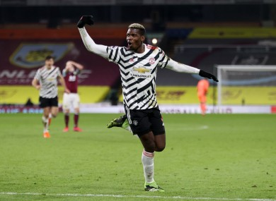 Paul Pogba celebrates his goal.