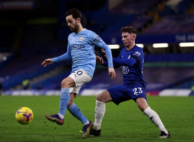Man City's Bernardo Silva and Chelsea's Billy Gilmour during the recent Premier League match at Stamford Bridge.