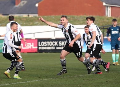 Chorley.'s Connor Hall (centre) celebrates scoring his side's first goal