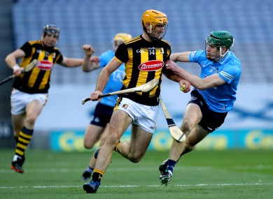 Colin Fennelly is tackled by James Madden of Dublin.
