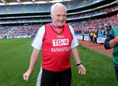 Éamonn Ryan at the final whistle of the 2014 All-Ireland ladies senior football final.