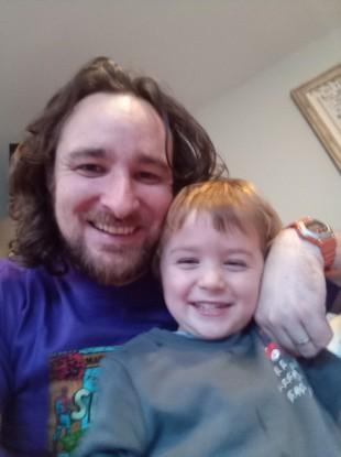 David Nolan and his son Ollie.
