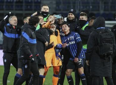 Atalanta celebrate with a post-match selfie.