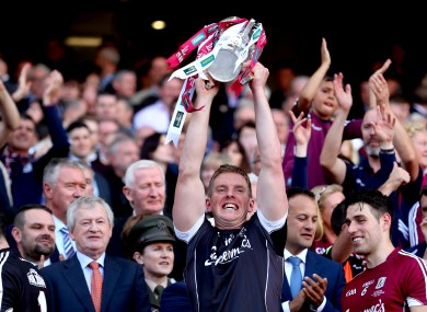 James Skehill lifts the Liam MacCarthy Cup after Galway's win in 2017.