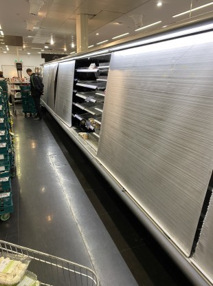 Empty shelves at the M&S store in Blackrock, Dublin, on 5 January.