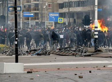 Protesters in Eindhoven in the Netherlands yesterday.
