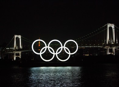 A photo of the Olympic Rings  in Odaiba Marine Park, Tokyo.