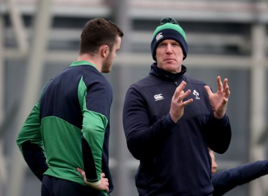 Paul O'Connell speaking with James Ryan during a training session in Abbotstown in February.