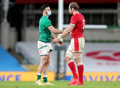 Robbie Henshaw shaking hands with Wales' Alun Wyn Jones after the sides met in the Autumn Nations Cup in November.