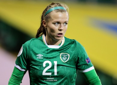 Ruesha Littlejohn in action for the Republic of Ireland against Germany last month.