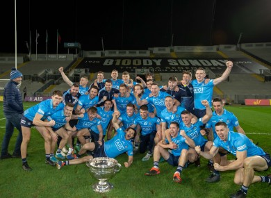 The Dublin team celebrate with the Sam Maguire after completing the six-in-a-row.