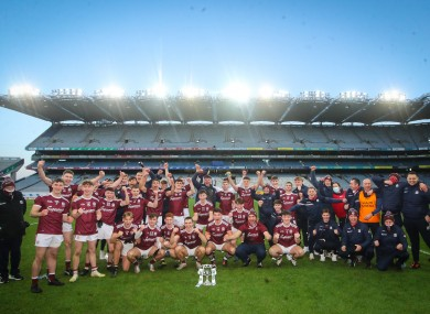 Galway players celebrate their final win over Dublin in December.