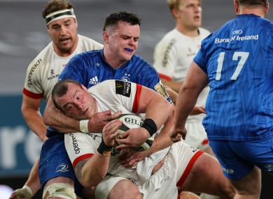 James Ryan tackles former team-mate Jack McGrath, now of Ulster.