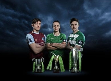 Jake Hyland (Drogheda United), Aine O'Gorman (Peamount United) and Ronan Finn (Shamrock Rovers).