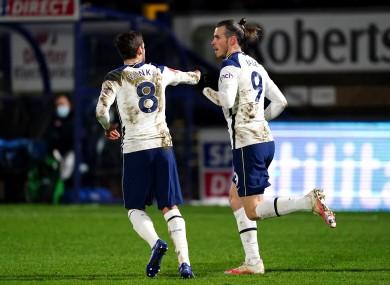 Tottenham Hotspur's Gareth Bale (right) celebrates scoring.