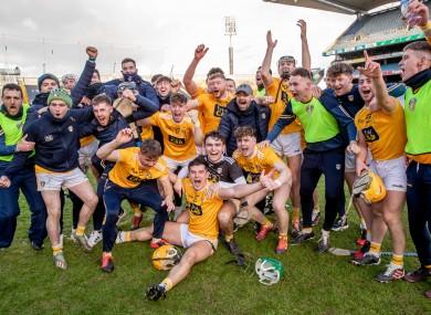 Antrim celebrate winning the Joe McDonagh Cup final.