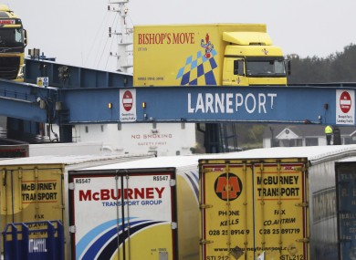 Vehicles disembark from the P&O ferry arriving from Scotland at the port of Larne.