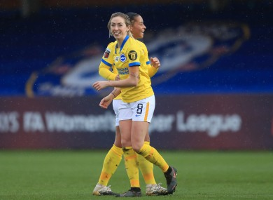 Brighton's Irish duo Megan Connolly and Rianna Jarrett celebrating at the weekend.