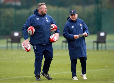 England head coach Eddie Jones (right) and scrum coach Matt Proudfoot.