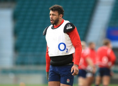 Courtney Lawes in training with England.