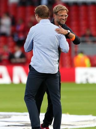 Jurgen Klopp and RB Leipzig boss Julian Nagelsmann.