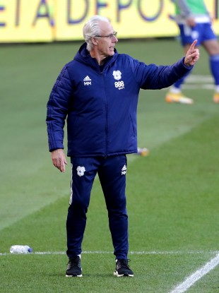 Cardiff City manager Mick McCarthy pictured during today's draw with Middlesbrough.