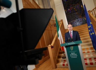 Taoiseach Micheál Martin addressing the nation this evening from Government Buildings