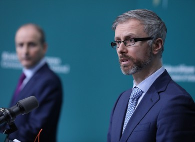 Minister Roderic O'Gorman (right) and Taoiseach Micheál Martin at the launch of the publication of the commission's report in January.