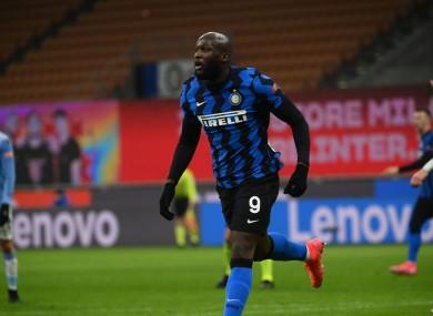 Inter striker Romelu Lukaku celebrates scoring against Lazio
