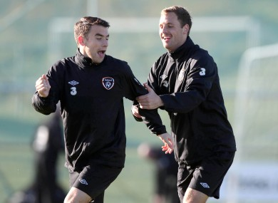 Having a laugh with Seamus during Ireland training in 2012.