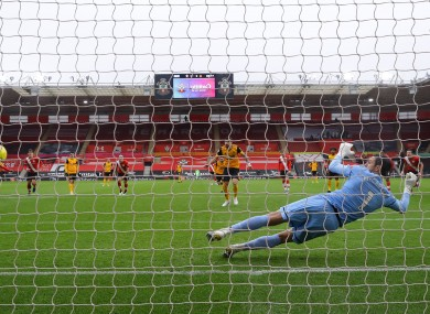 Ruben Neves scores from the penalty spot against Southampton.