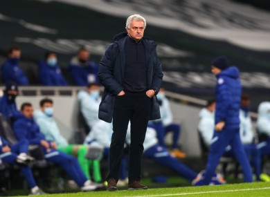 Jose Mourinho pictured on the touchline tonight.
