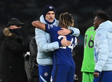 Chelsea manager Thomas Tuchel celebrates with Reece James.