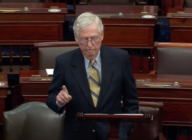 Senate minority leader Mitch McConnell speaking following Trump's acquittal