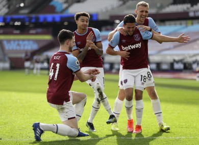 Jesse Lingard leads the celebrations after scoring West Ham's second.