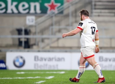 Ulster's Andrew Warwick leaves the field due to a red card.