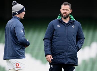Peter O'Mahony with Ireland head coach Andy Farrell.