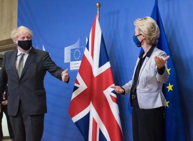 Johnson and von der Leyen at a Brussels summit in December.