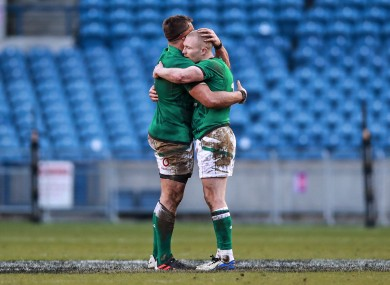Keith Earls (right) and CJ Stander after Ireland's defeat of Scotland last weekend.