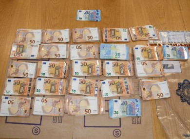The cash seized from the vehicle.