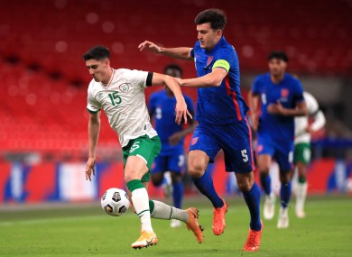 Callum O'Dowda under pressure from Harry Maguire during Ireland's friendly against England at Wembley last November.