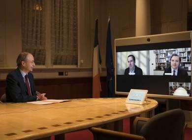 Taoiseach Micheál Martin; Martin Shanahan, CEO, IDA Ireland; General Manager of Intel Ireland and VP of Technology & Manufacturing Group, Eamonn Sinnott